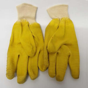 Rubber gloves, yellow, knitted sleeve
